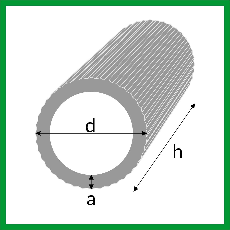 Mosiężna rurka okrągła ryflowana - rysunek techniczny, wymiary